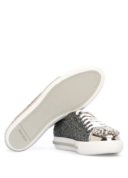 Gold Siyah Taş İşlemeli Kadın Payetli Sneaker
