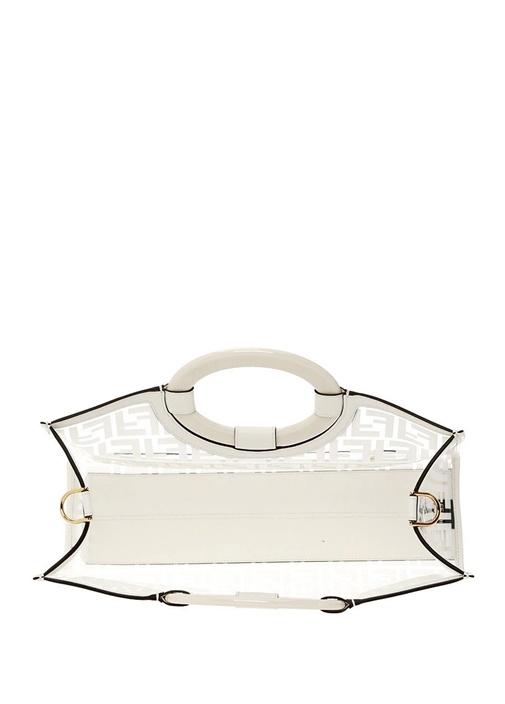 Medium Beyaz Transparan Detaylı Alışveriş Çantası