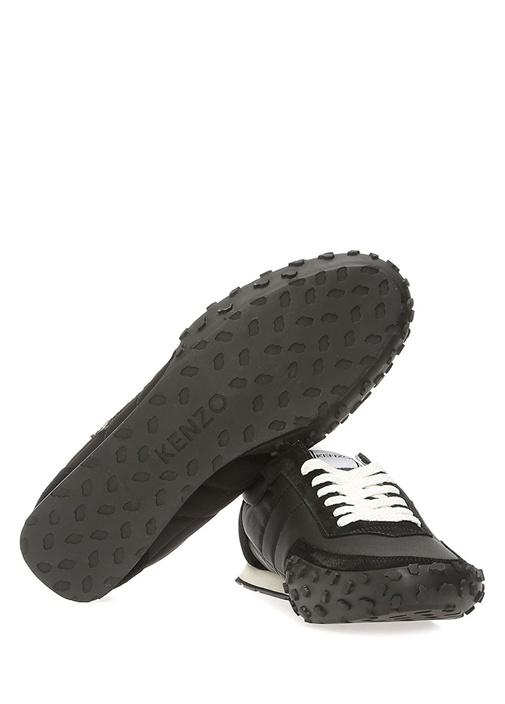 Siyah Kaplan Patchli Erkek Deri Sneaker
