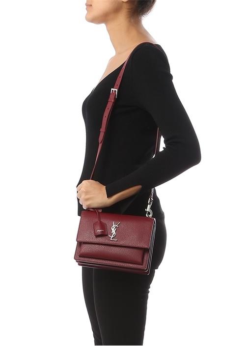 Bordo Logolu Kadın Deri Çanta
