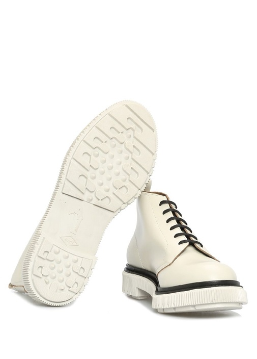Beyaz Kontrast Şeritli Erkek Deri Bot
