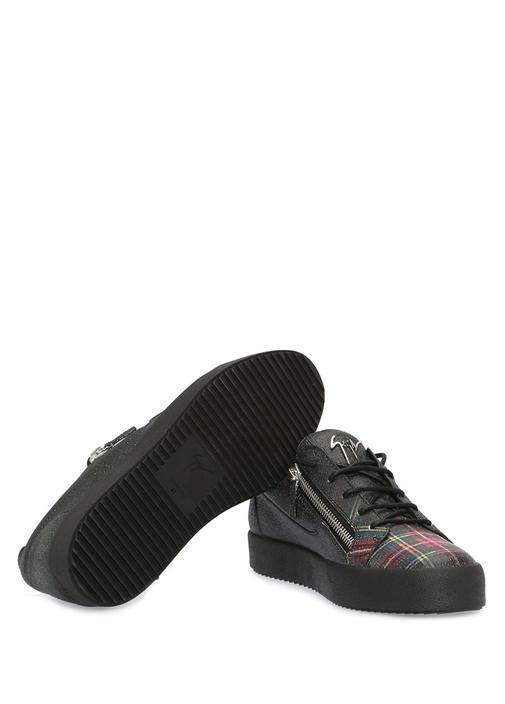 May Siyah Ekose Desen Detaylı Erkek Deri Sneaker