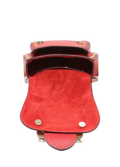 Mandras Kırmızı Taş Detaylı Kadın Deri Çanta
