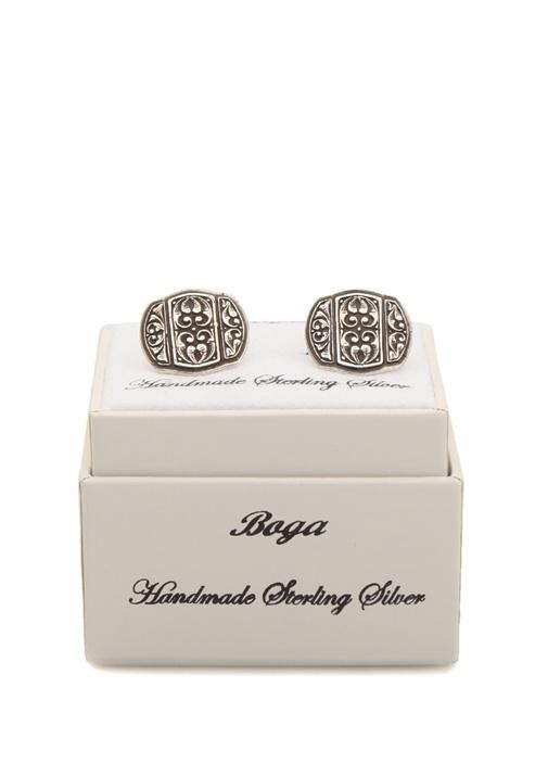 Silver Kare Formlu İşlemeli Gümüş Kol Düğmesi