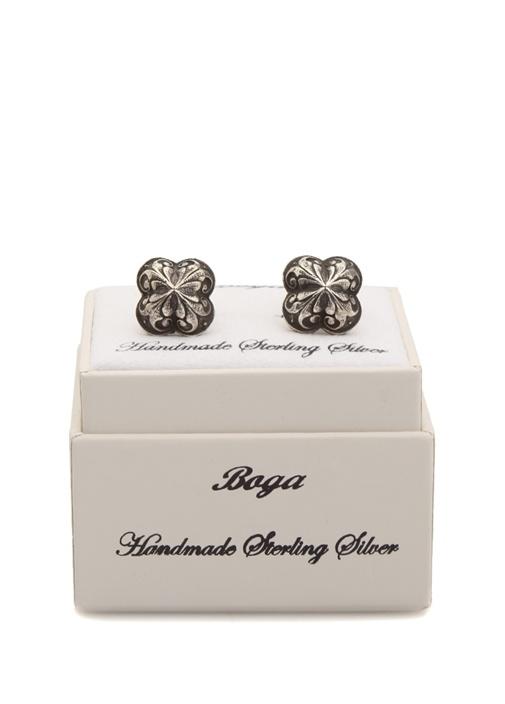 Silver İşlemeli Kare Formlu Gümüş Kol Düğmesi
