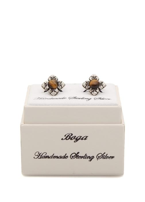 Silver Kahverengi Çiçek Formlu Gümüş Kol Düğmesi