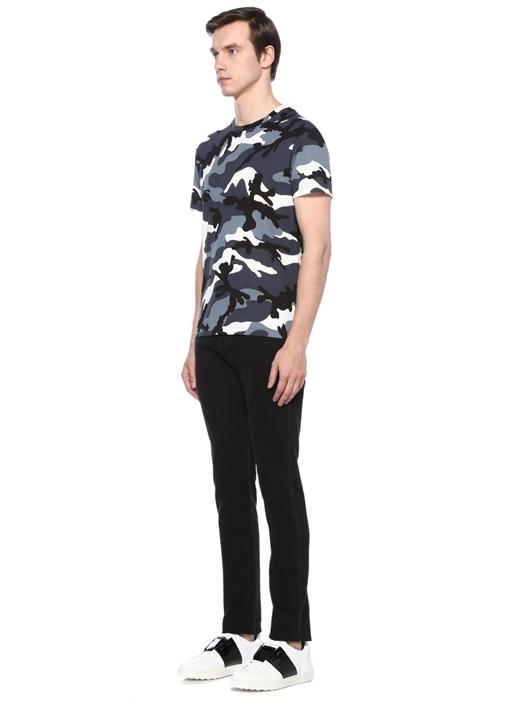 Mavi Kamuflaj Desenli Basic T-shirt