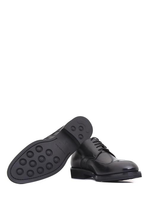 Siyah Dekoratif Dikiş Detaylı Erkek Deri Ayakkabı