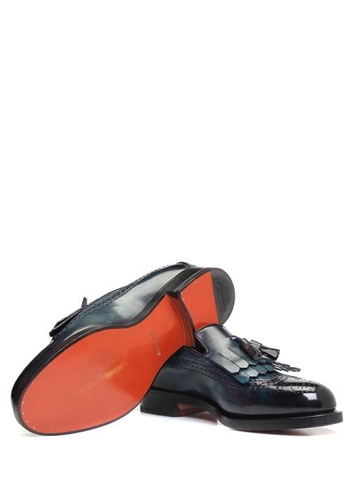 Lacivert Delik Desenli Bantlı Erkek Deri Loafer