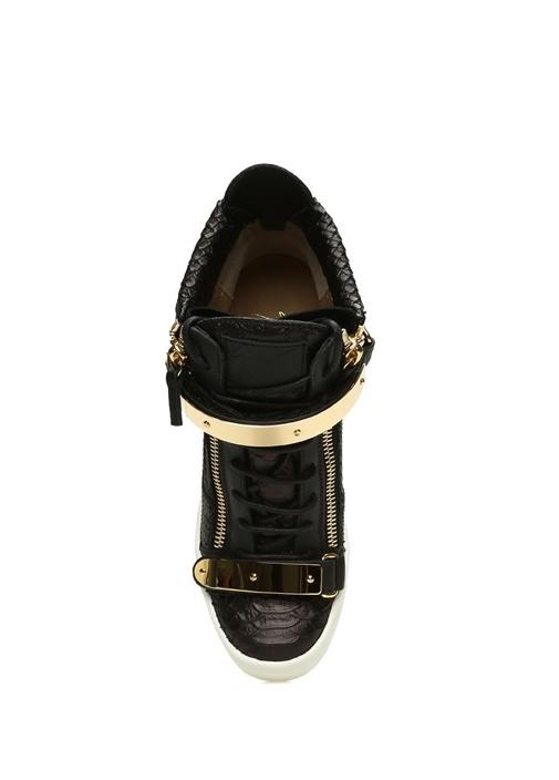 Jennıfer Siyah Gold Detaylı Kadın Deri Sneaker