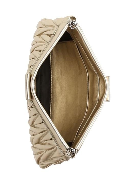 Metalik Gold Drapeli Kadın Deri Çanta