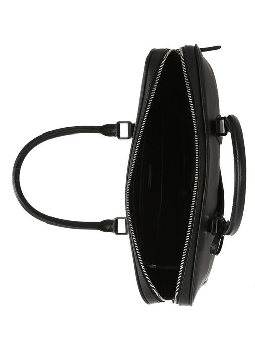 Saffiano Siyah Logolu Erkek Deri Çanta