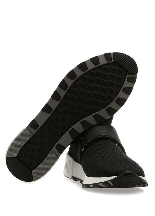 Siyah File Dokulu Logolu Kadın Sneaker
