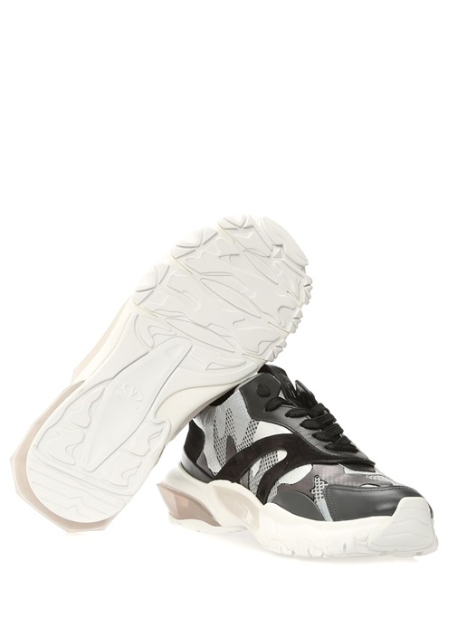 Bounce Siyah Kamuflajlı Garnili Kadın Deri Sneaker