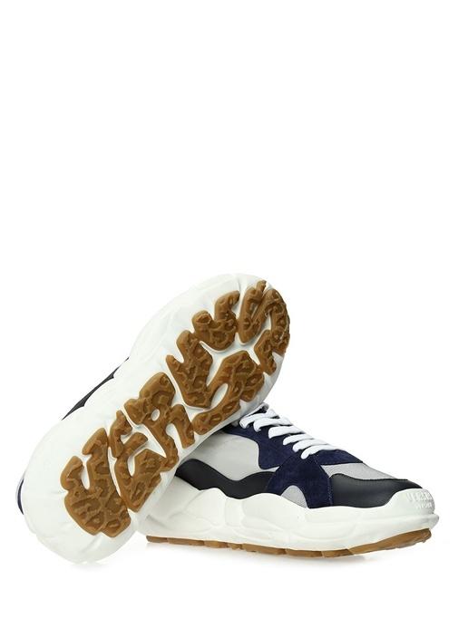 Gri Mavi Logo Nakışlı Erkek Sneaker