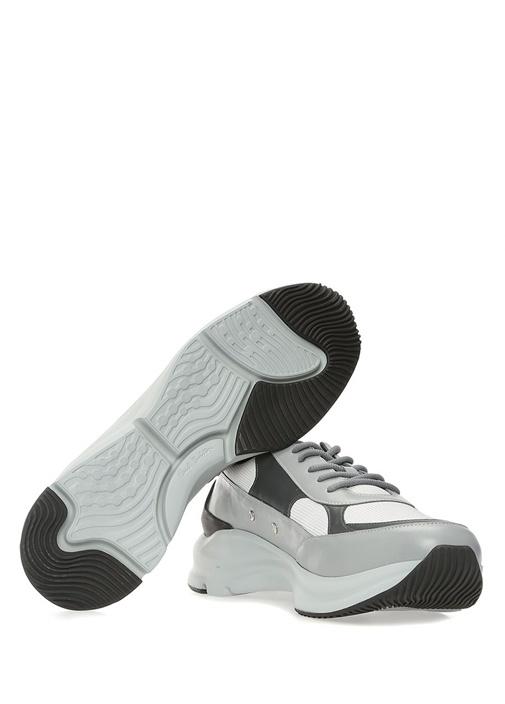 Explorer Gri Beyaz Logolu Erkek Deri Sneaker