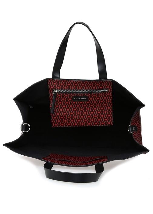 Monogram Kırmızı Siyah Desenli Alışveriş Çantası