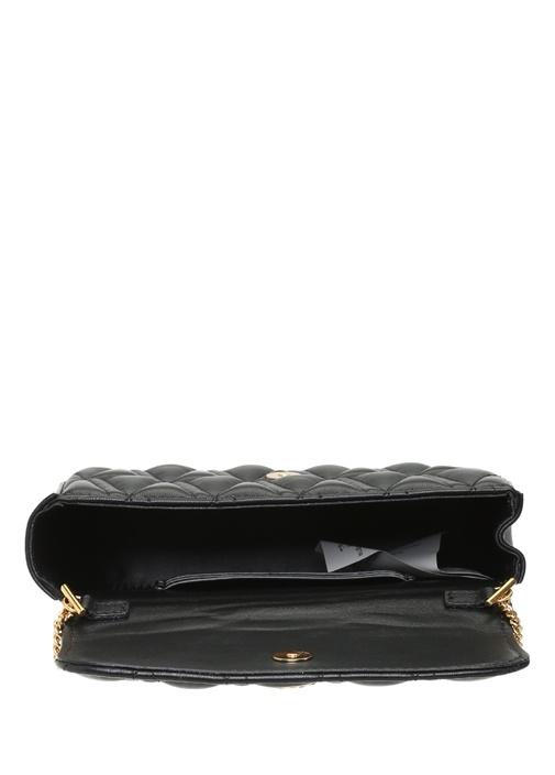Virtus Siyah Gold Logolu Kadın Deri Omuz Çantası