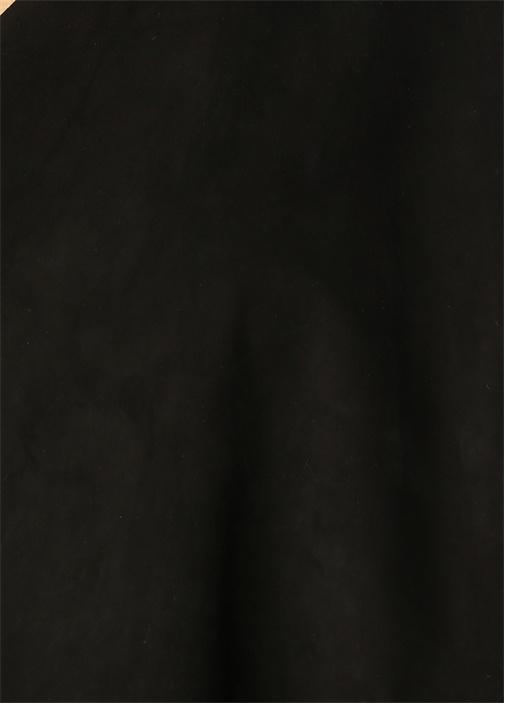Siyah Şal Yaka Deri Süet Hırka