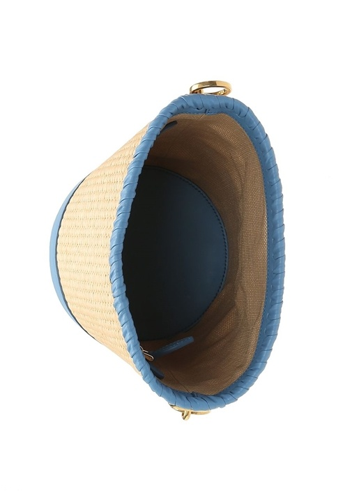 Mavi Bej Silindir Formlu Kadın Çanta