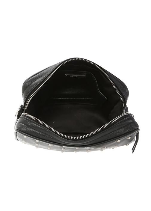 Siyah Silver Trok Detaylı Kadın Deri Çanta