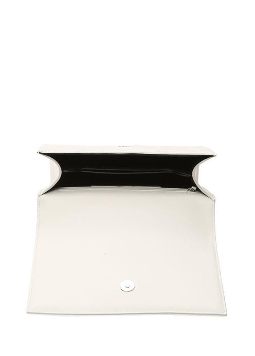 Beyaz Yüzük Formlu Kulplu Kadın Deri Çanta