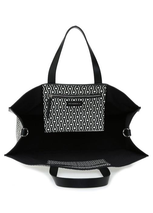 Monogram Siyah Beyaz Desenli Alışveriş Çantası