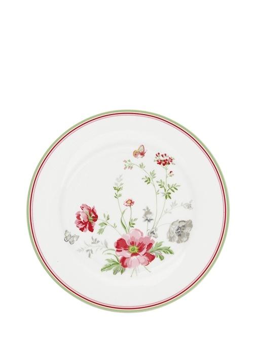 Meadow Camille Beyaz Çiçekli Kahvaltı Tabağı
