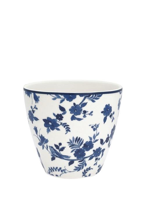 Hope Vanessa Beyaz Çiçekli Porselen Latte Bardağı