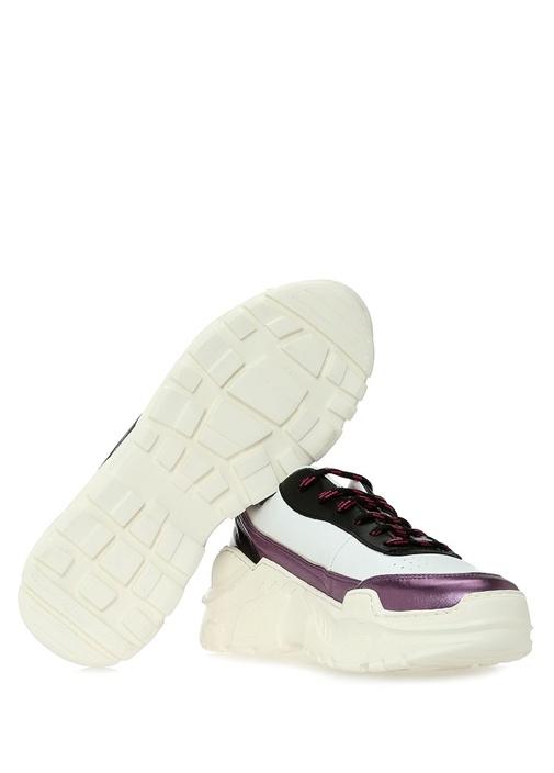 Irene Beyaz Mor Kadın Deri Sneaker