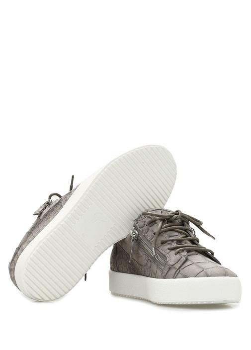 May Gri Krokodil Dokulu Kadın Deri Sneaker