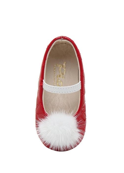 Kırmızı Kapitoneli Kız Bebek Deri Ayakkabı