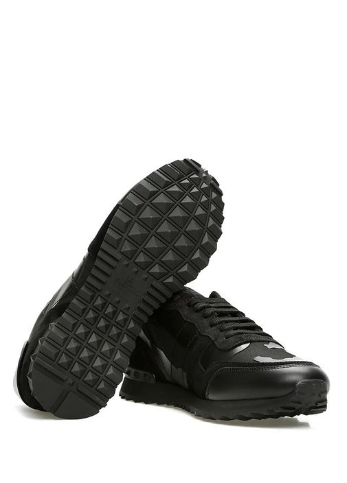 Noir Kamuflaj Desenli Erkek Deri Sneaker