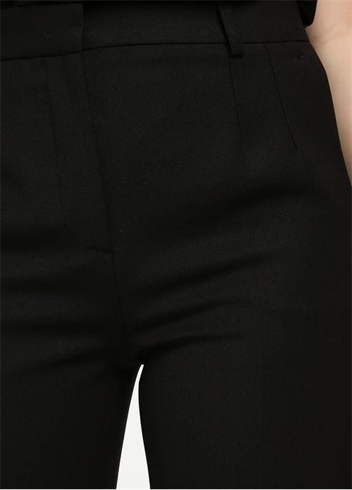Siyah Yün Gabardin Dar Paça Pantolon