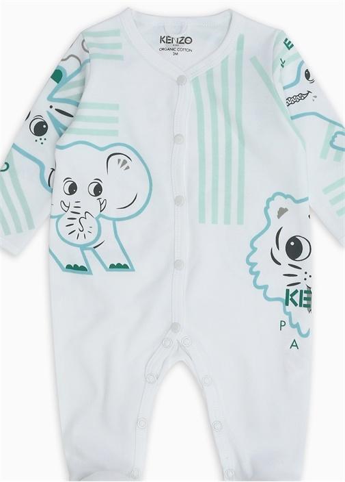 Jungle Beyaz Organik Pamuklu Erkek Bebek Tulum