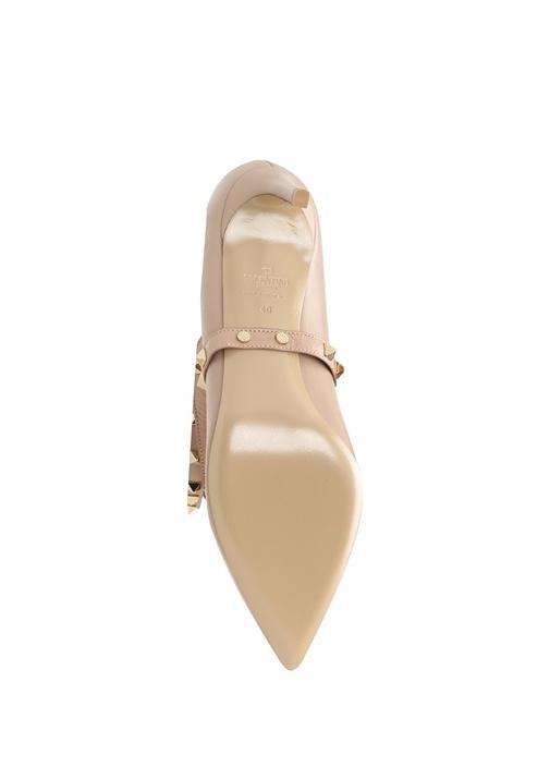Bej Deri Topuklu Ayakkabı