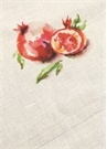 Bej Meyve Baskılı Keten Önlük