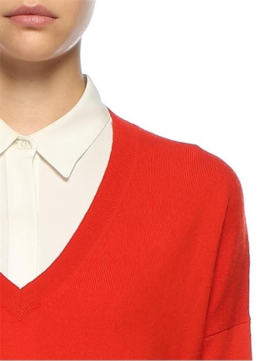 V Yaka Kırmızı Mini Kaşmir Elbise