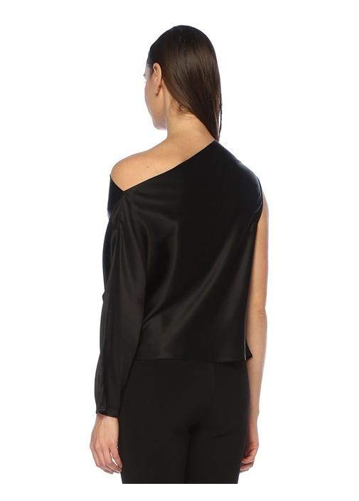 Siyah Tek Kollu Drapeli İpek Saten Bluz
