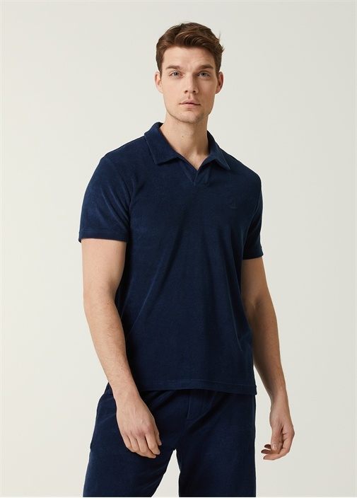 Custom Fit Lacivert Polo Yaka Havlu Dokulu T-shirt