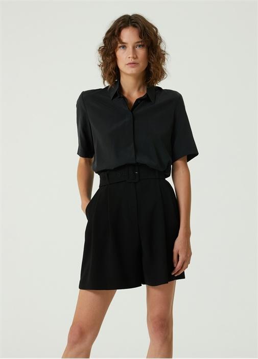 Siyah Polo Yaka İpek Gömlek