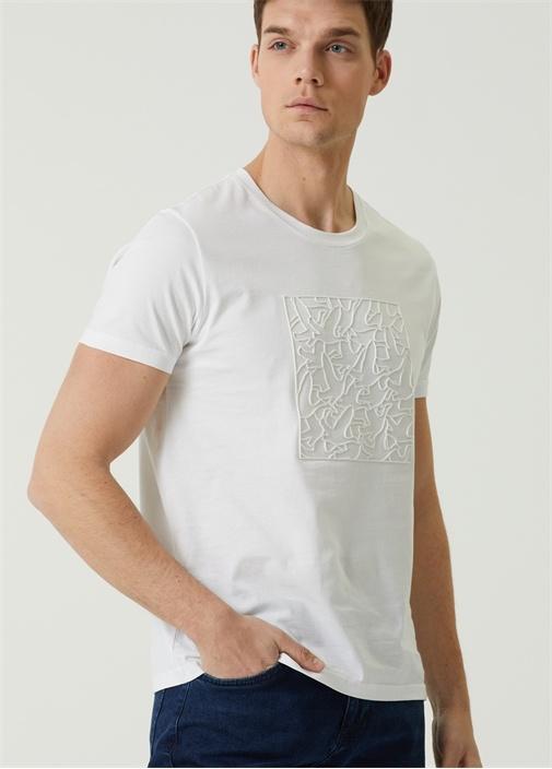 Beyaz Kabartmalı Logo Baskılı T-shirt