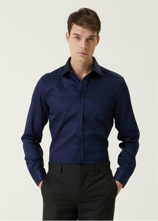 Slim Fit Lacivert Non Iron Saten Stretch Gömlek