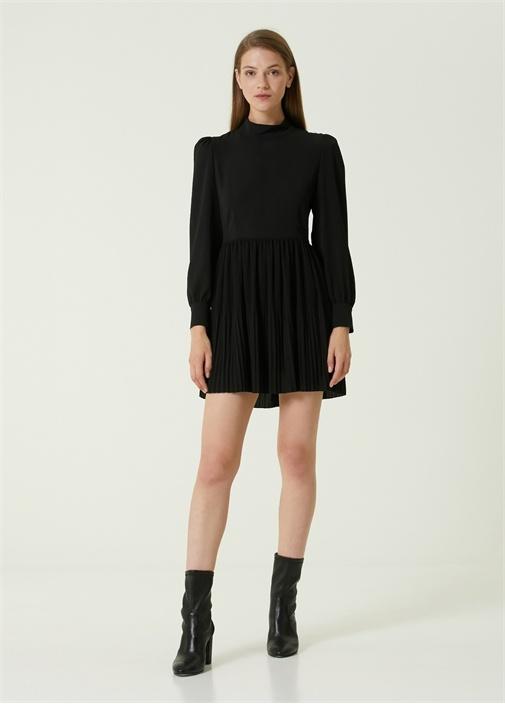 Siyah Dik Yaka Pilili Mini Elbise