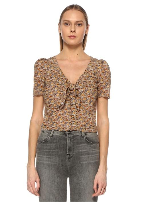 Kahverengi Önü Bağlamalı Çiçek Desenli Bluz