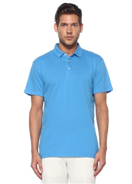 Slim Fit Mavi Polo Yaka Çizgi Jakarlı T-shirt