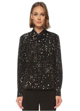 Academia Kadın Siyah Polo Yaka Kristal Desenli İpek Gömlek 42
