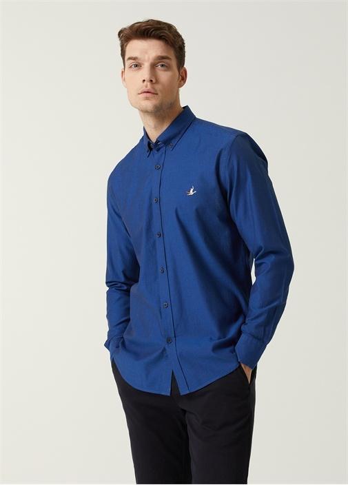Slim Fit Lacivert Düğmeli Yaka Oxford Gömlek