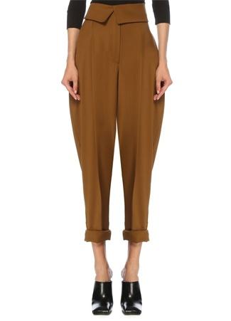 Proenza Schouler Kadın Kahverengi Yüksek Bel Crop Yün Pantolon 6 US