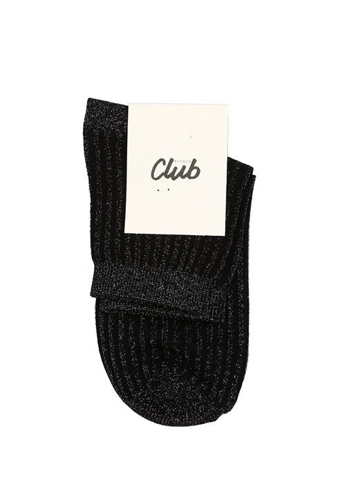 Siyah Simli Çizgi Kadın Soket Çorap